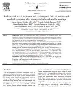 ENDOTHELIN-1 LEVELS IN PLASMA AND CEREBROSPINAL FLUID OF PATIENTS WITH SUBARACHNOID HEMORRHAGE